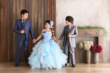7歳 ドレス 兄妹撮影